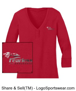 Women's Red Henley Design Zoom